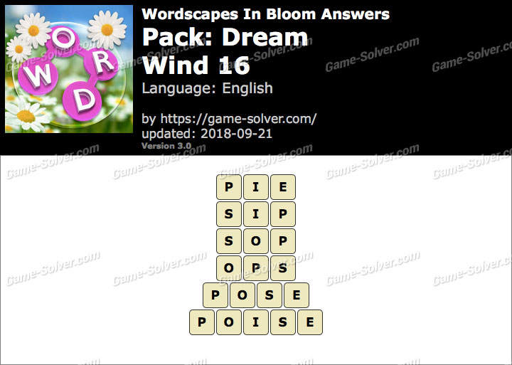 Wordscapes In Bloom Dream-Wind 16 Answers
