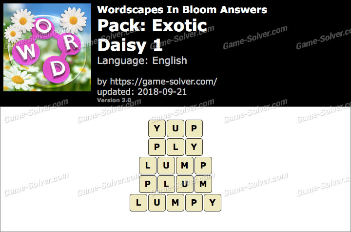 Wordscapes In Bloom Exotic-Daisy 1 Answers