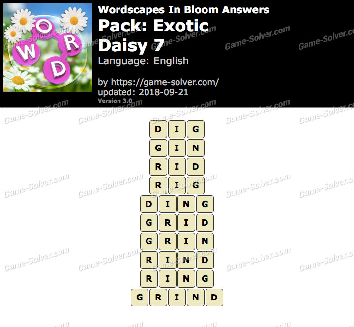 Wordscapes In Bloom Exotic-Daisy 7 Answers