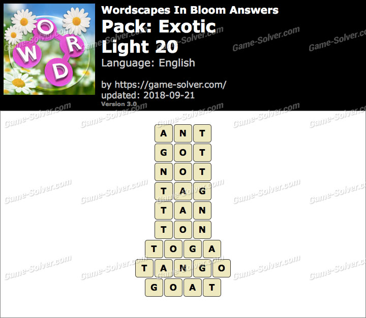 Wordscapes In Bloom Exotic-Light 20 Answers