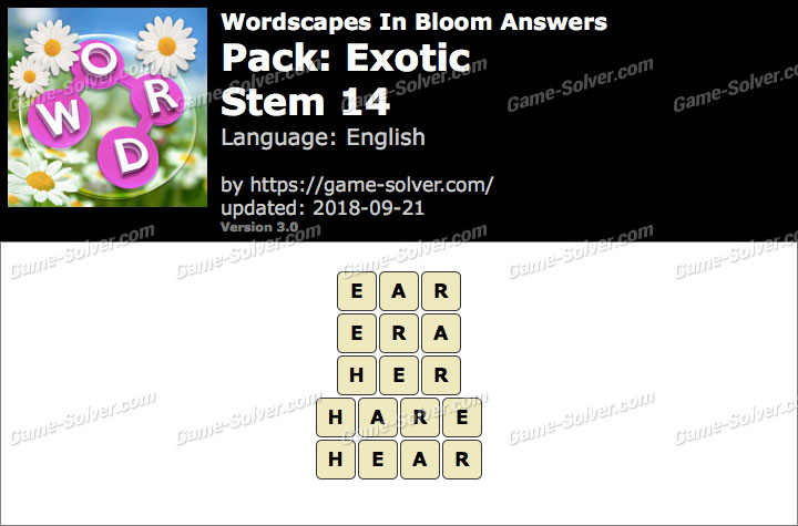 Wordscapes In Bloom Exotic-Stem 14 Answers