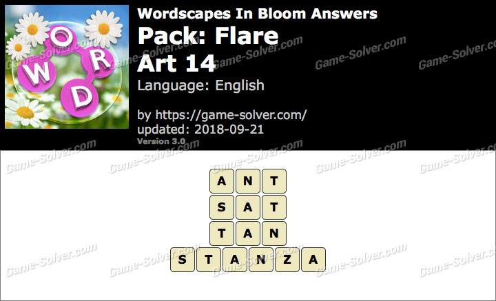 Wordscapes In Bloom Flare-Art 14 Answers