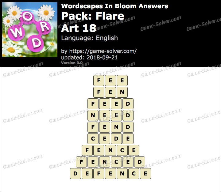 Wordscapes In Bloom Flare-Art 18 Answers