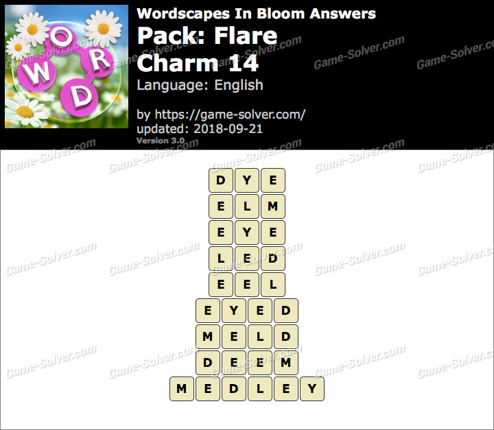 Wordscapes In Bloom Flare-Charm 14 Answers