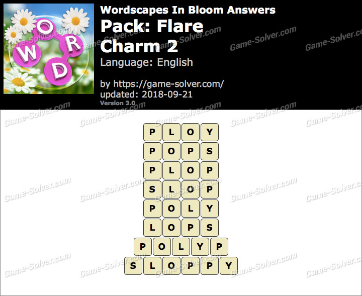 Wordscapes In Bloom Flare-Charm 2 Answers