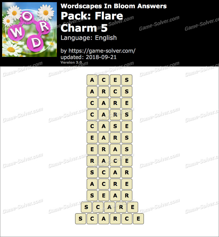Wordscapes In Bloom Flare-Charm 5 Answers