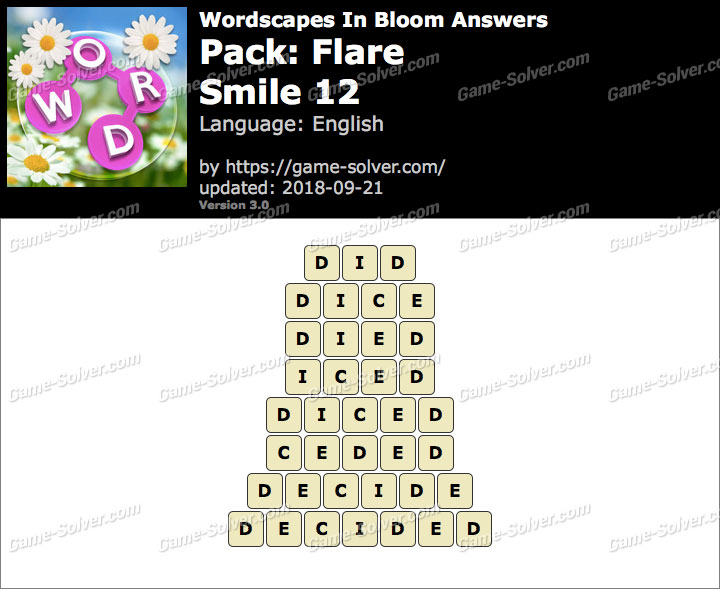 Wordscapes In Bloom Flare-Smile 12 Answers