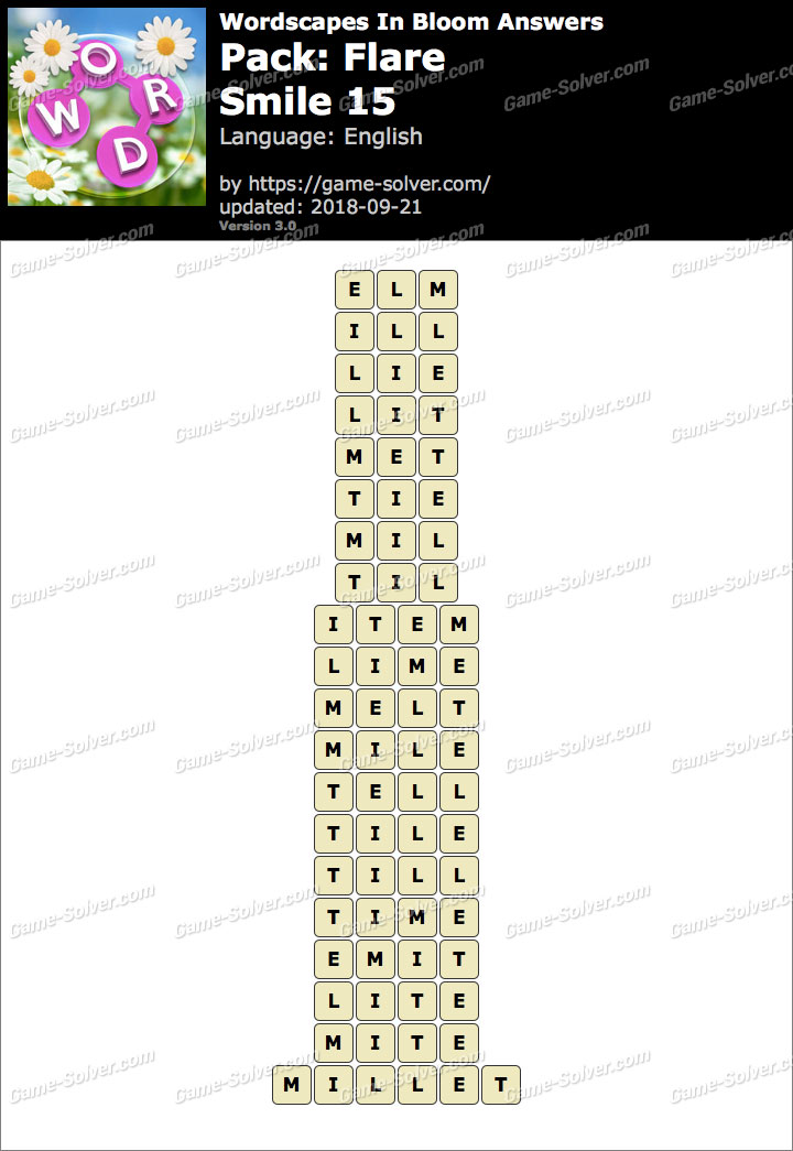 Wordscapes In Bloom Flare-Smile 15 Answers