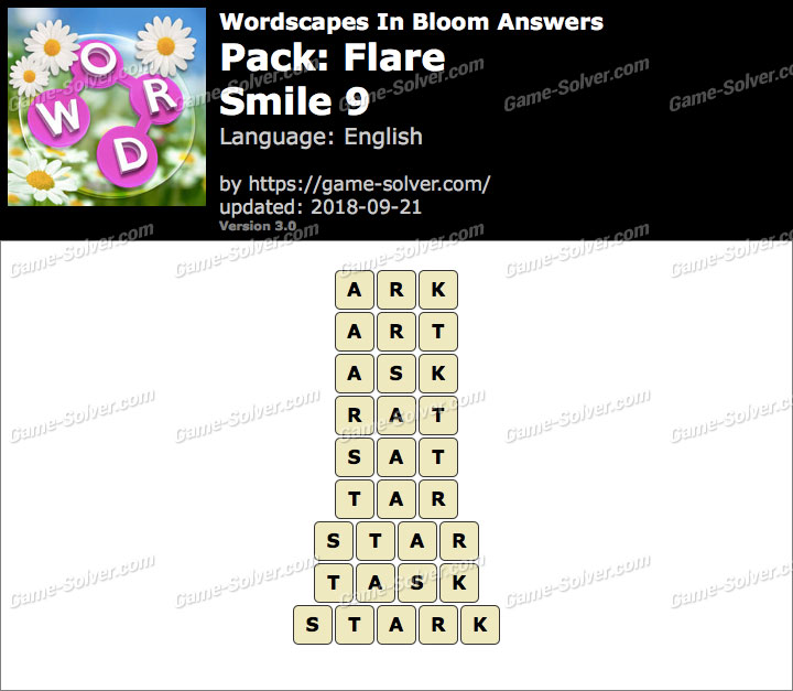 Wordscapes In Bloom Flare-Smile 9 Answers