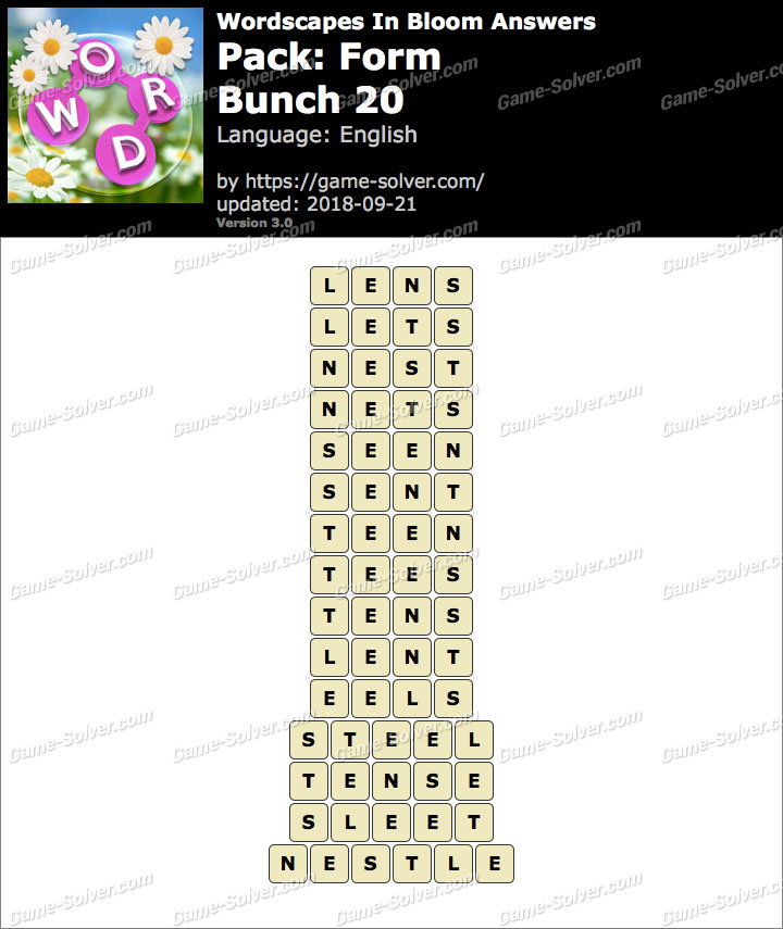 Wordscapes In Bloom Form-Bunch 20 Answers