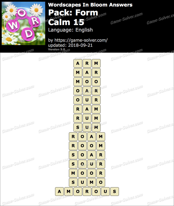 Wordscapes In Bloom Form-Calm 15 Answers