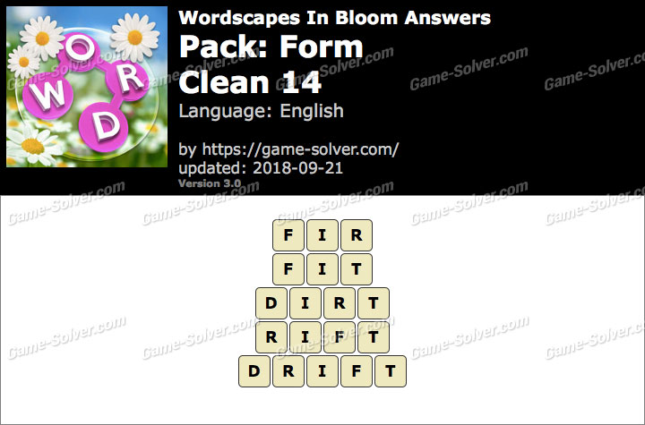 Wordscapes In Bloom Form-Clean 14 Answers