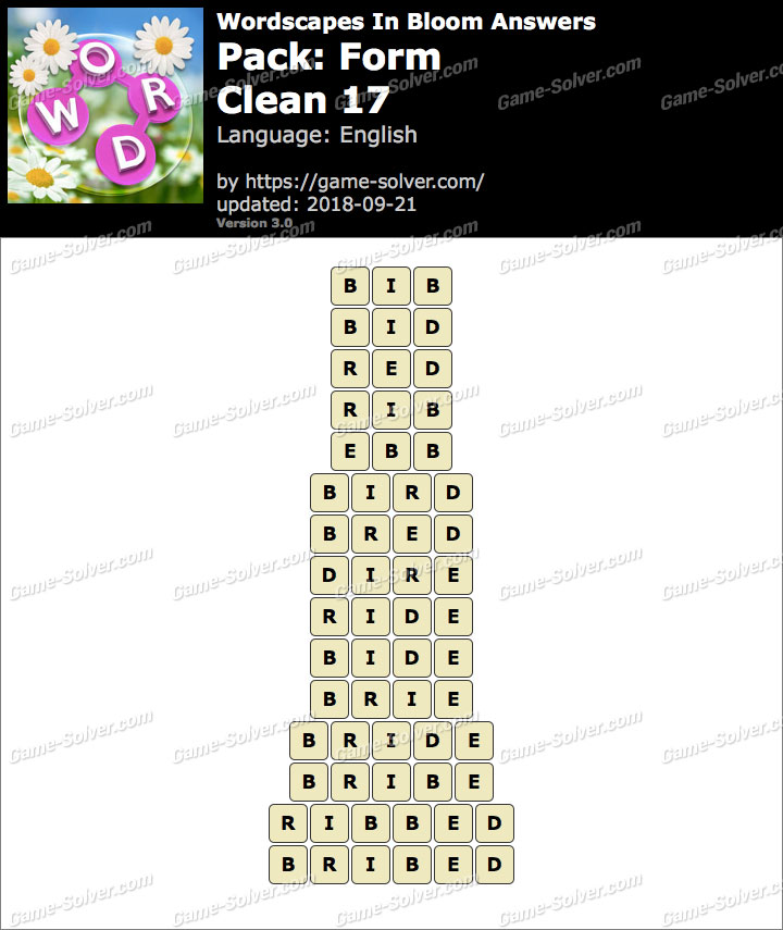 Wordscapes In Bloom Form-Clean 17 Answers