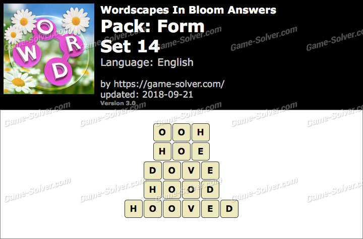 Wordscapes In Bloom Form-Set 14 Answers