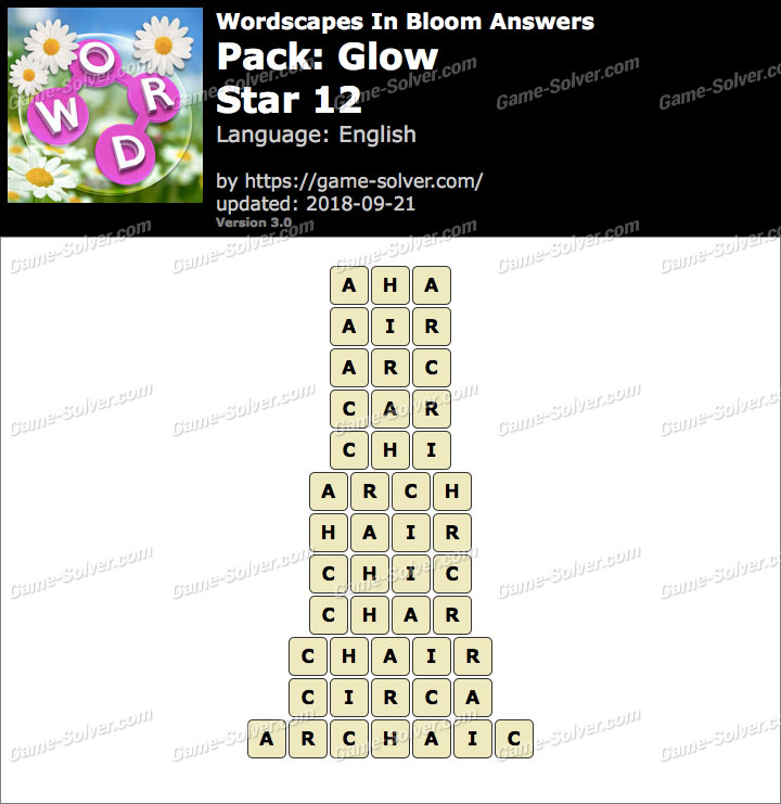 Wordscapes In Bloom Glow-Star 12 Answers