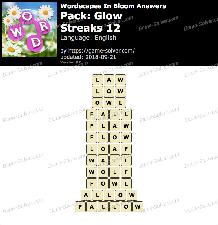Wordscapes In Bloom Glow-Streaks 12 Answers