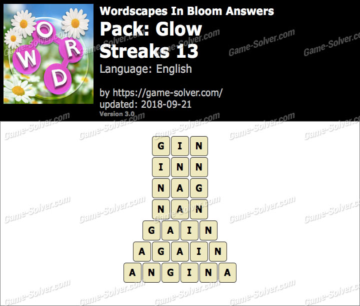 Wordscapes In Bloom Glow-Streaks 13 Answers