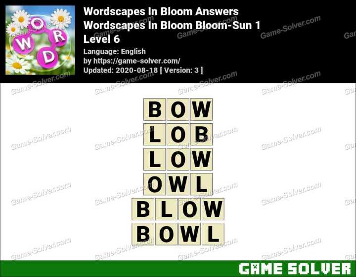 Wordscapes In Bloom Glow-Streaks 6 Answers
