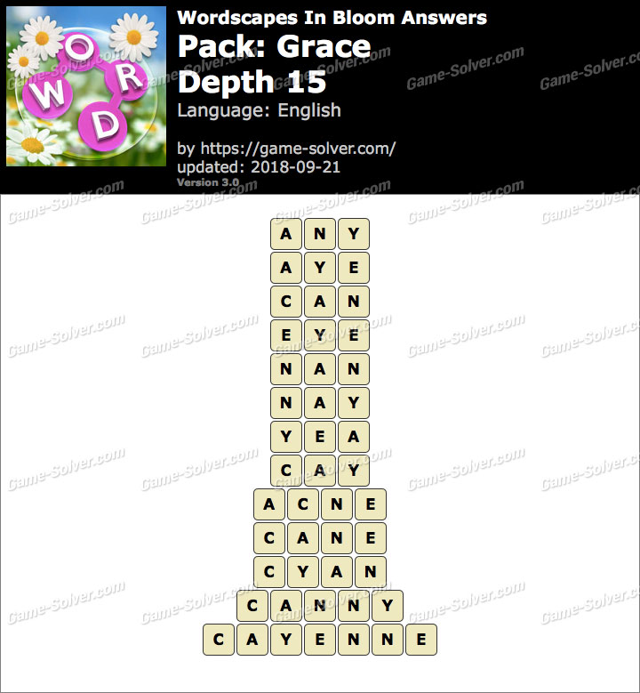 Wordscapes In Bloom Grace-Depth 15 Answers