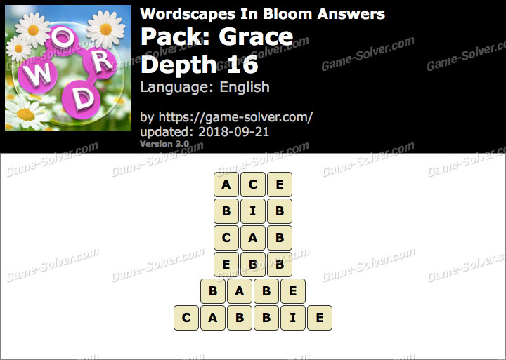 Wordscapes In Bloom Grace-Depth 16 Answers