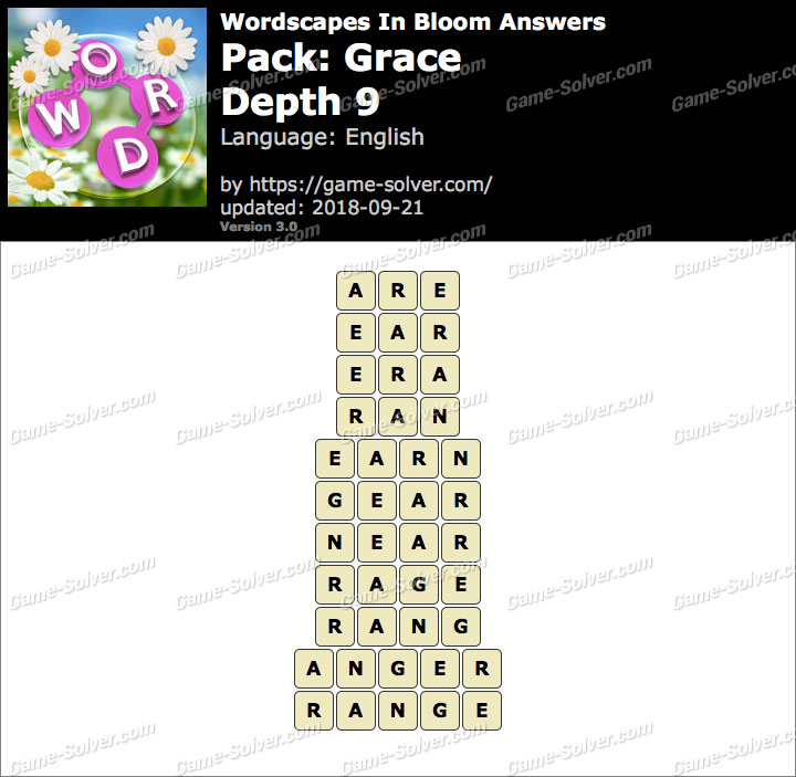Wordscapes In Bloom Grace-Depth 9 Answers