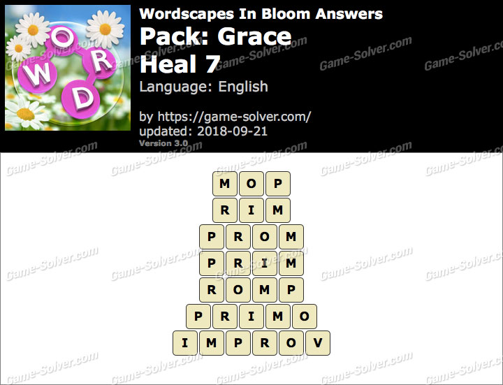 Wordscapes In Bloom Grace-Heal 7 Answers