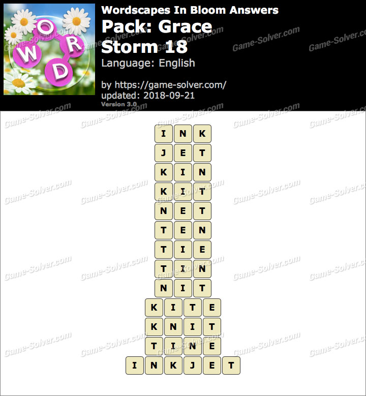 Wordscapes In Bloom Grace-Storm 18 Answers