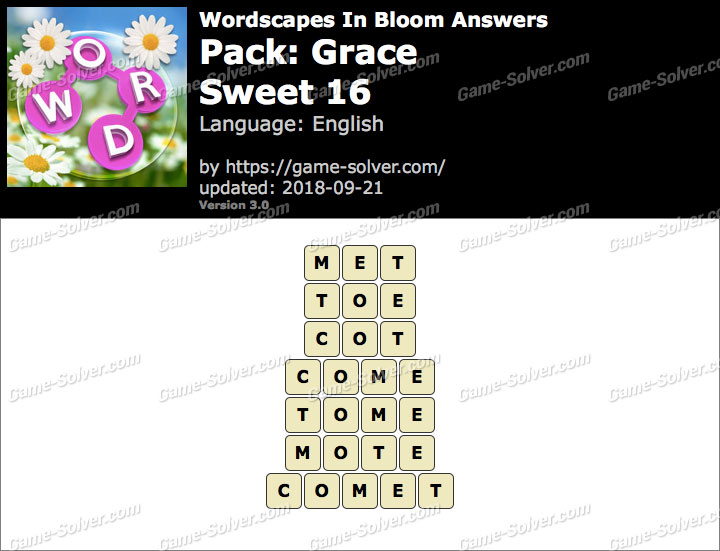 Wordscapes In Bloom Grace-Sweet 16 Answers