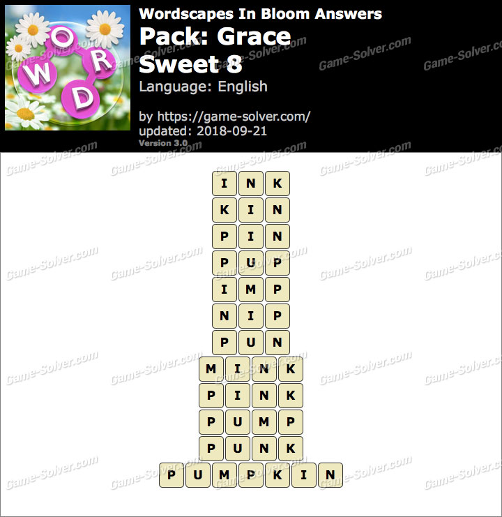 Wordscapes In Bloom Grace-Sweet 8 Answers