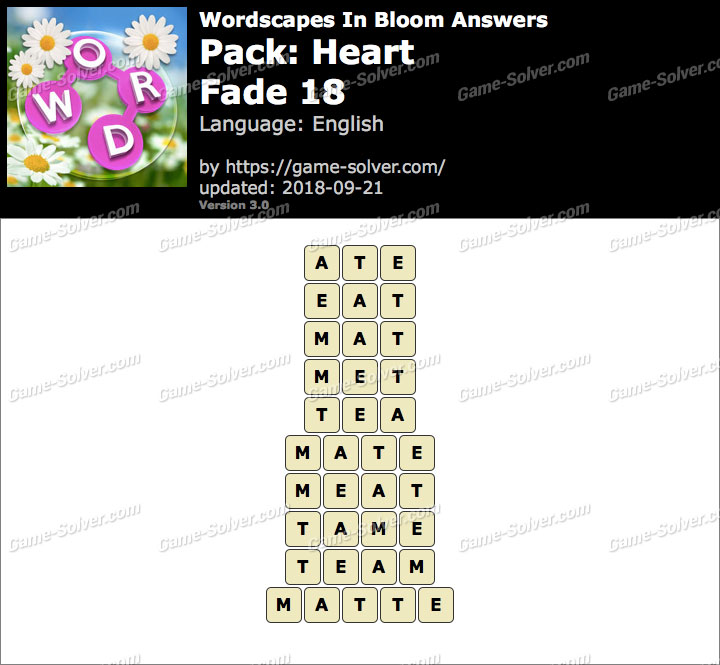 Wordscapes In Bloom Heart-Fade 18 Answers