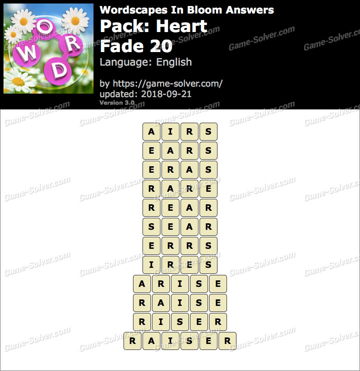 Wordscapes In Bloom Heart-Fade 20 Answers