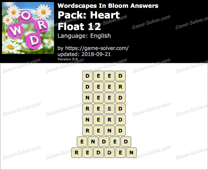 Wordscapes In Bloom Heart-Float 12 Answers