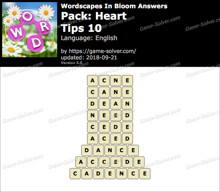 Wordscapes In Bloom Heart-Tips 10 Answers