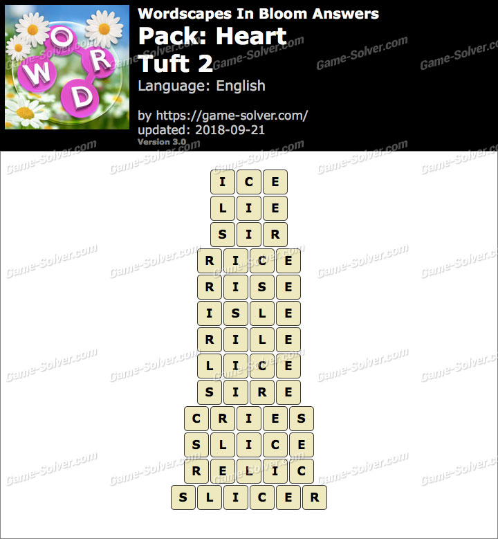 Wordscapes In Bloom Heart-Tuft 2 Answers