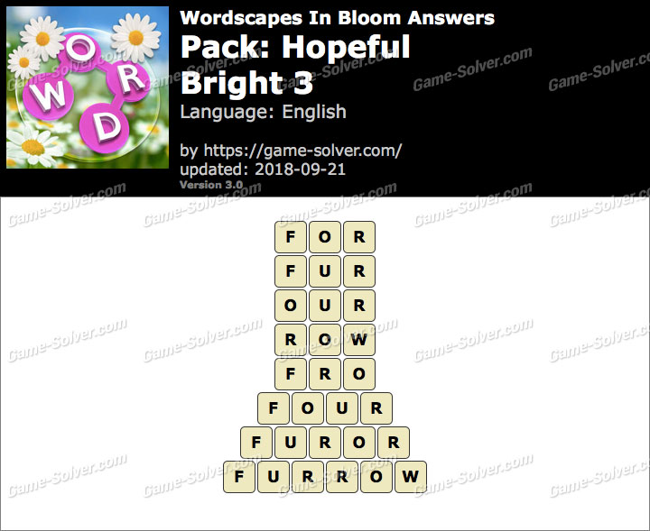 Wordscapes In Bloom Hopeful-Bright 3 Answers