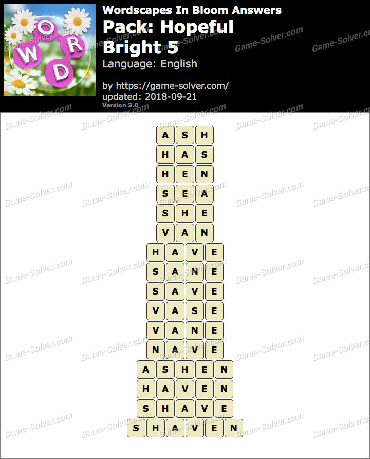 Wordscapes In Bloom Hopeful-Bright 5 Answers