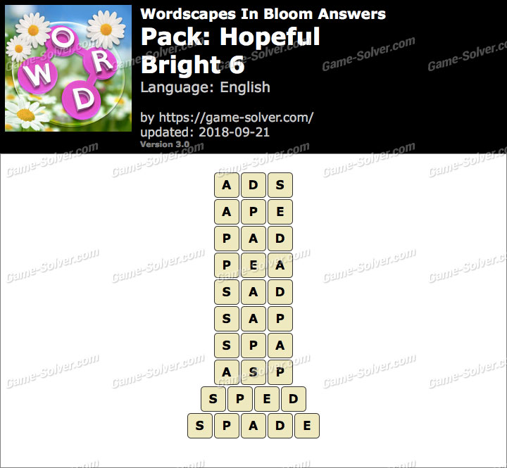 Wordscapes In Bloom Hopeful-Bright 6 Answers