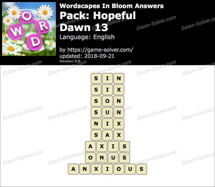 Wordscapes In Bloom Hopeful-Dawn 13 Answers