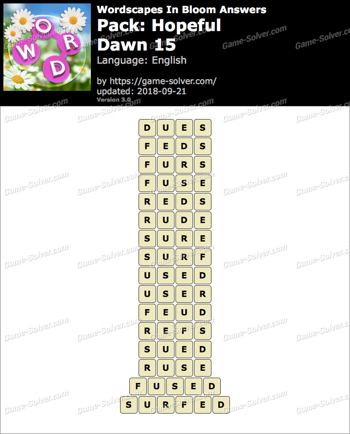 Wordscapes In Bloom Hopeful-Dawn 15 Answers