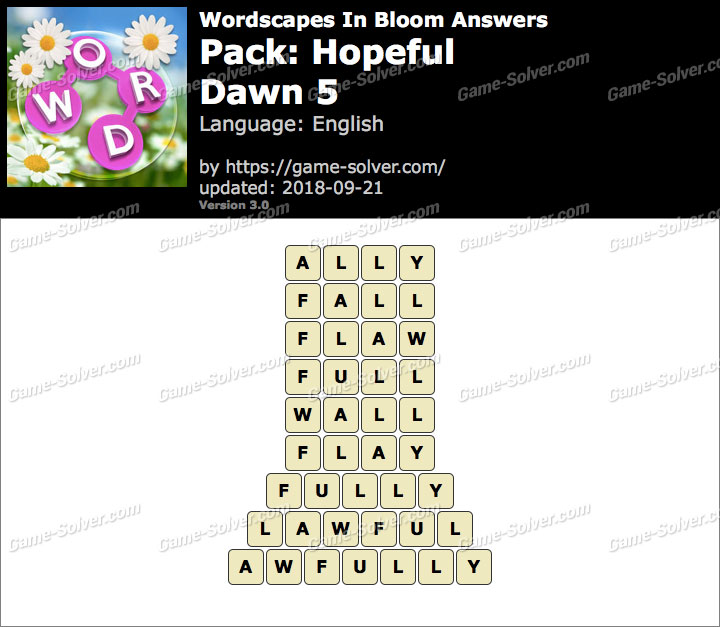 Wordscapes In Bloom Hopeful-Dawn 5 Answers