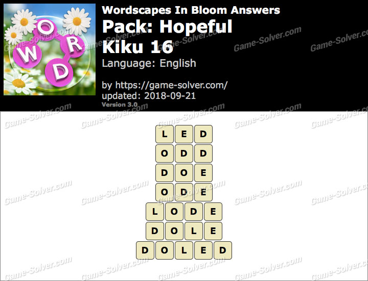 Wordscapes In Bloom Hopeful-Kiku 16 Answers