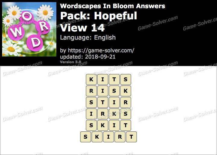 Wordscapes In Bloom Hopeful-View 14 Answers