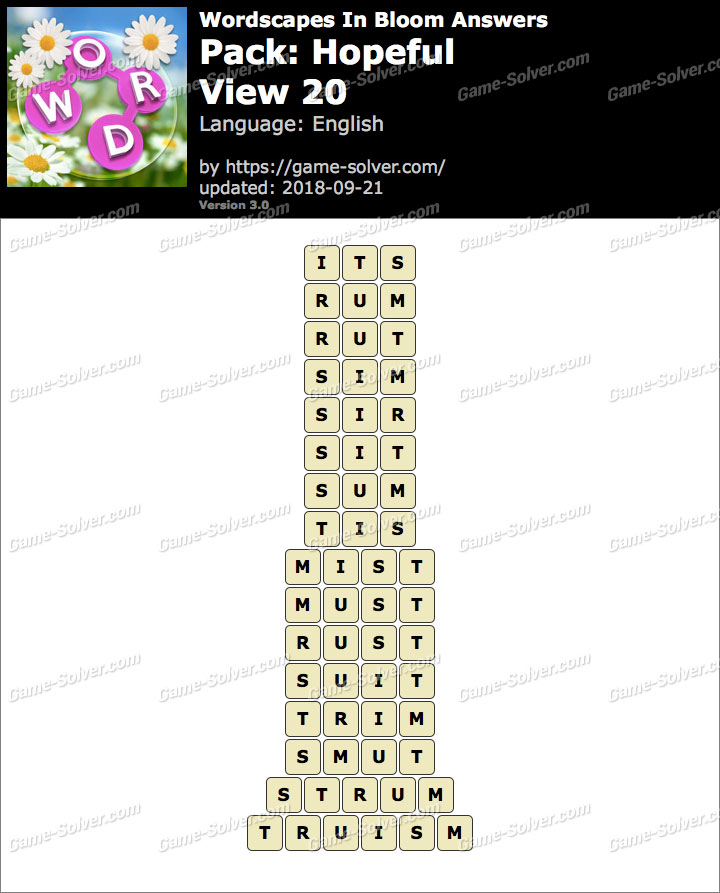 Wordscapes In Bloom Hopeful-View 20 Answers