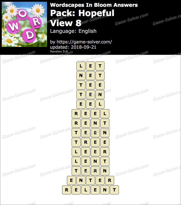 Wordscapes In Bloom Hopeful-View 8 Answers