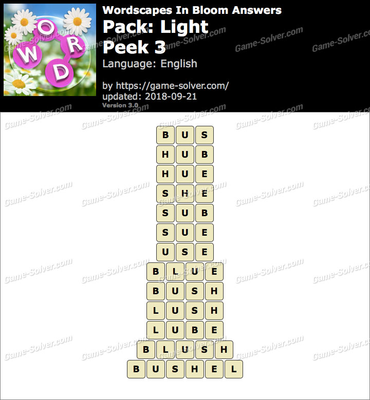 Wordscapes In Bloom Light-Peek 3 Answers