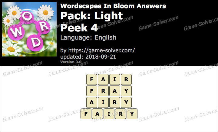 Wordscapes In Bloom Light-Peek 4 Answers