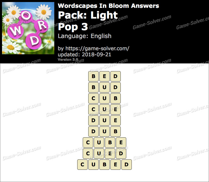 Wordscapes In Bloom Light-Pop 3 Answers
