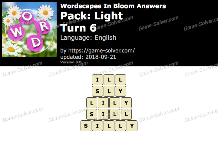 Wordscapes In Bloom Light-Turn 6 Answers