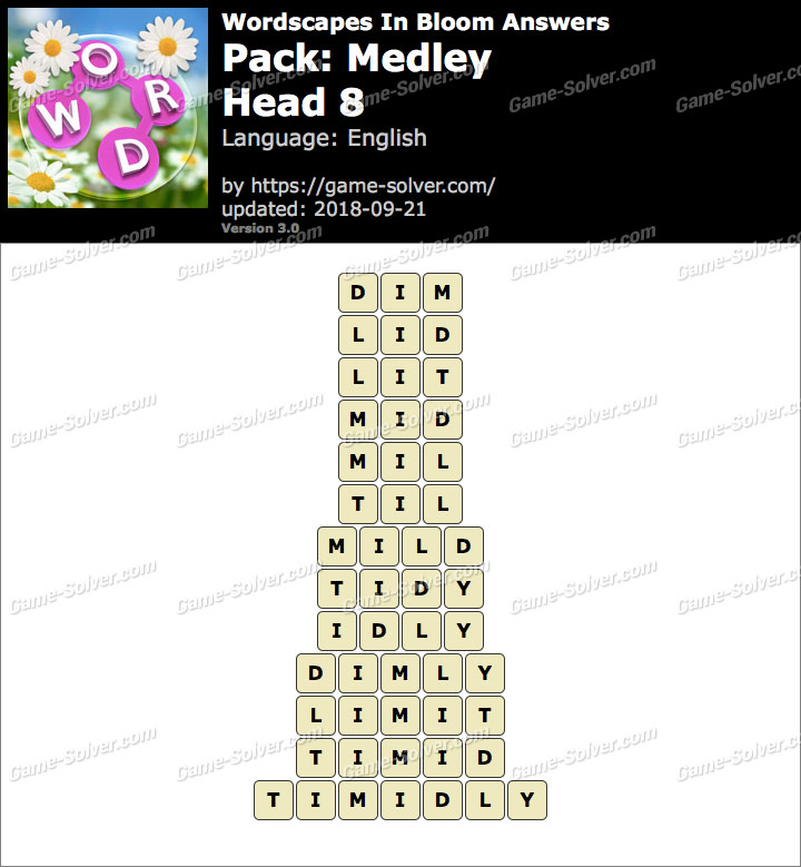 Wordscapes In Bloom Medley-Head 8 Answers