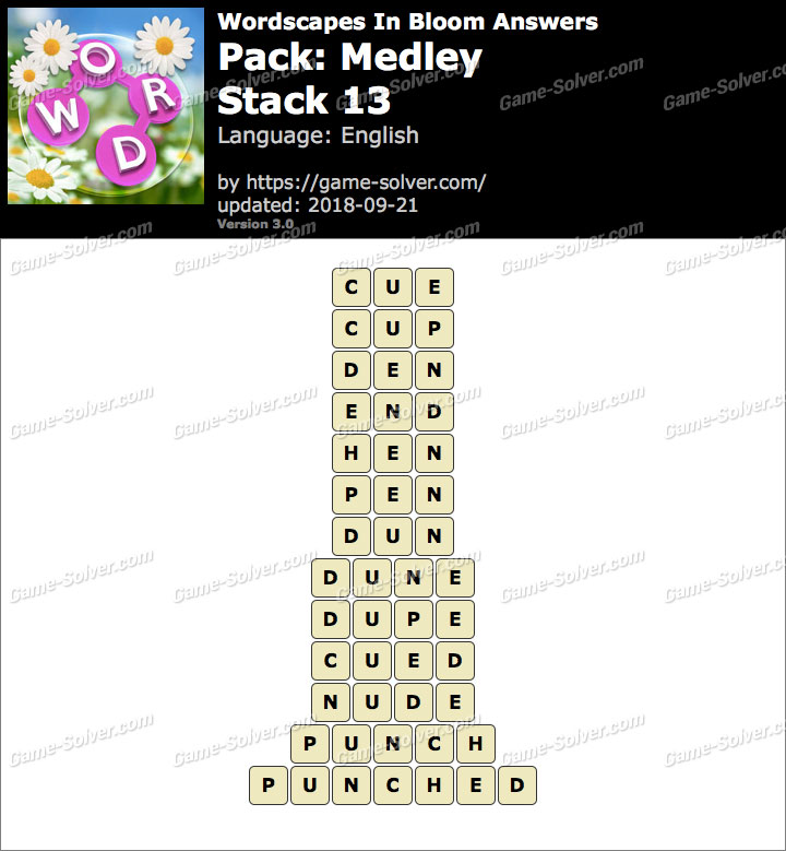 Wordscapes In Bloom Medley-Stack 13 Answers